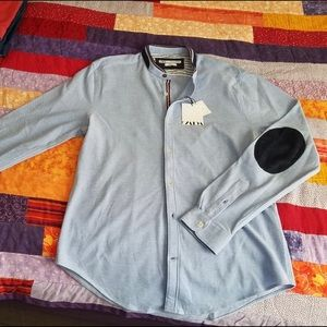 NWT Zara blue button-down with elbow patches